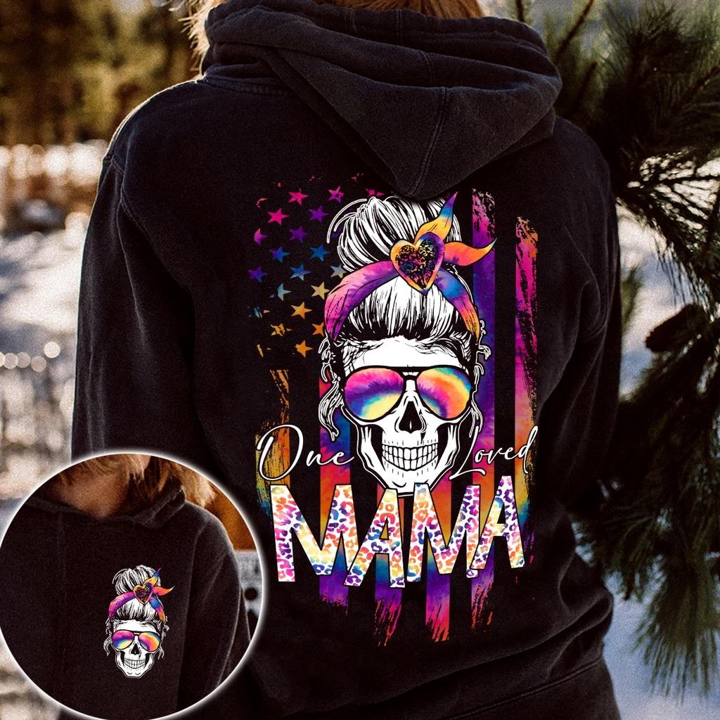 Skull colorful American flag one loved mama 3d hoodie