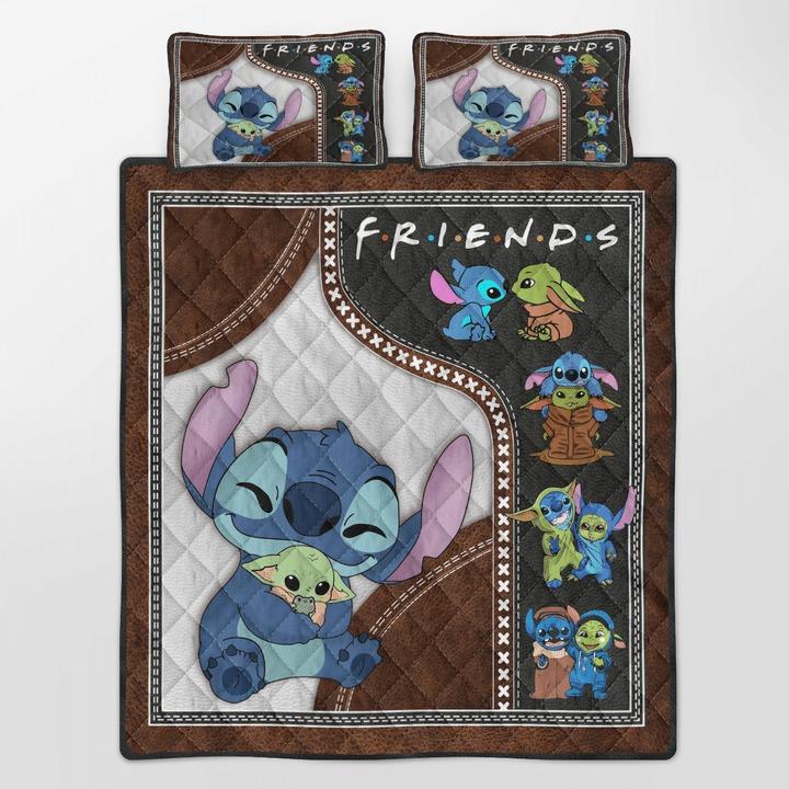 Stitch and baby Yoda friend quilt bedding set2 1