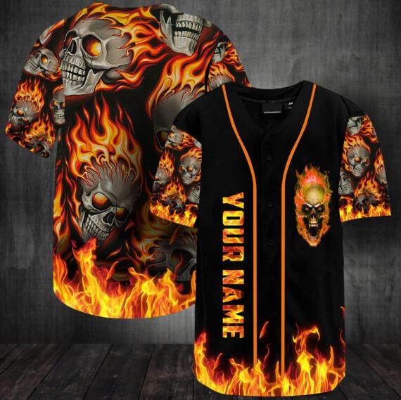 Sunny fire skull custom name baseball jersey shirt2