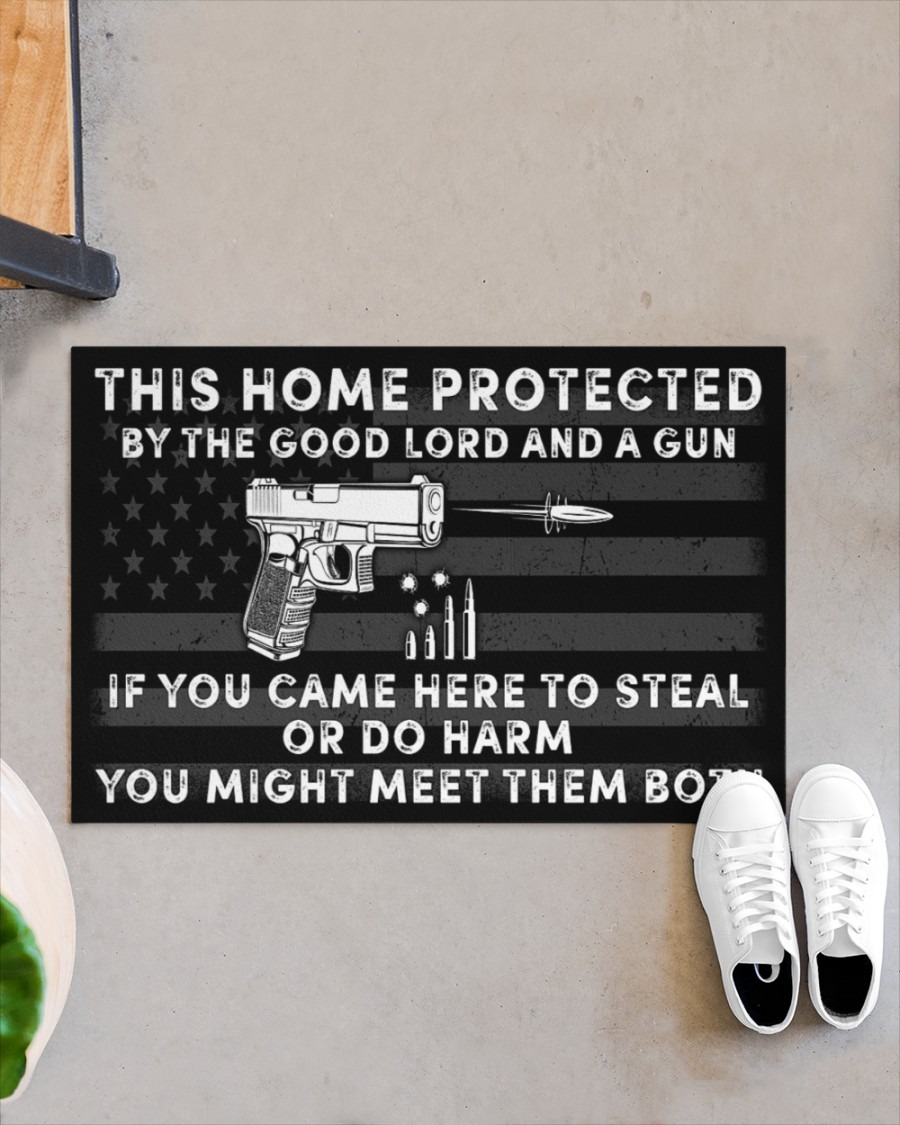 This home protected by the good lord and a gun doormat2