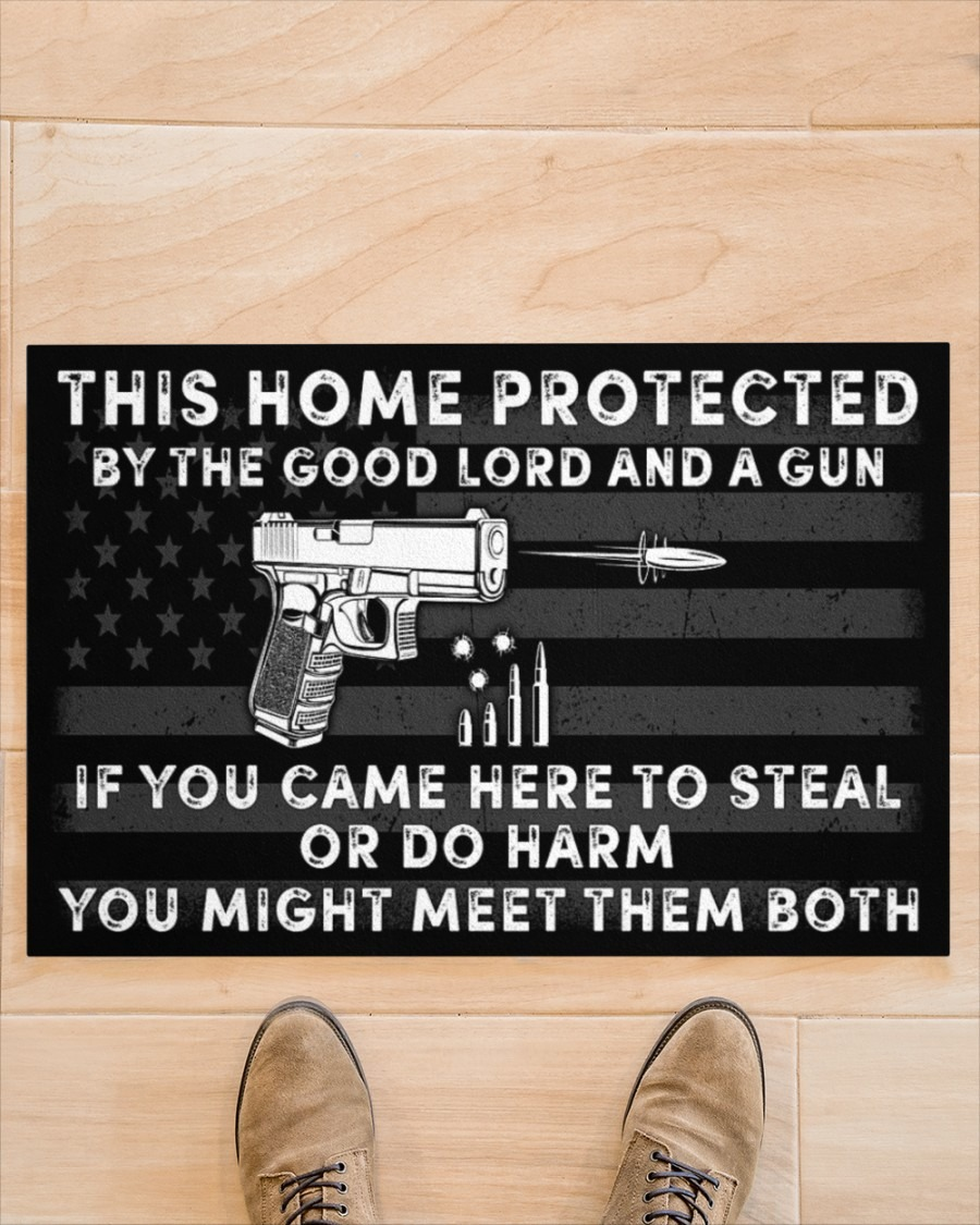 This home protected by the good lord and a gun doormat3