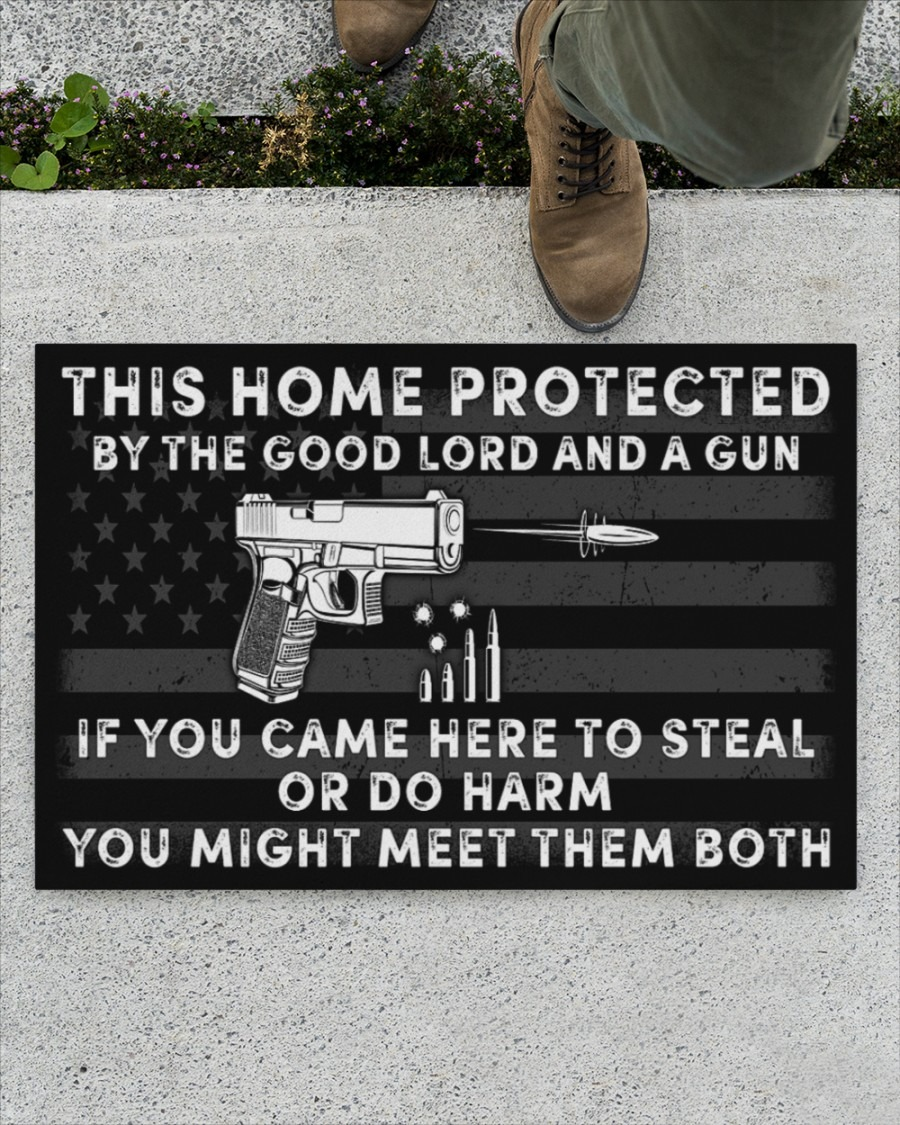 This home protected by the good lord and a gun doormat4