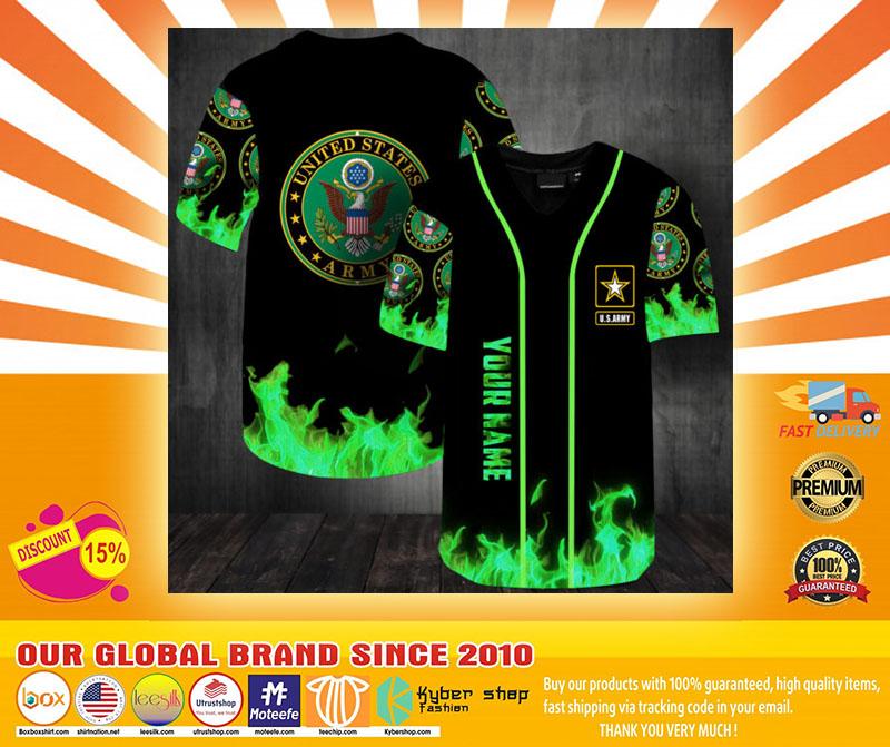 United States Army green fire custom name baseball jersey shirt4