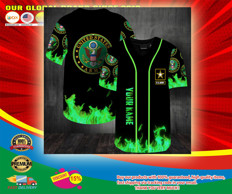 United States Army green fire custom name baseball jersey shirt5