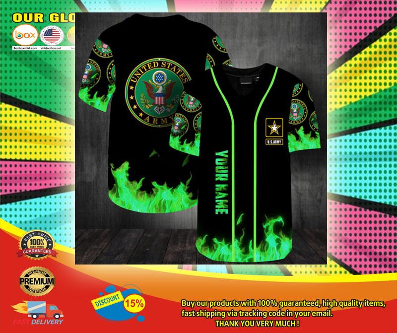 United States Army green fire custom name baseball jersey shirt6