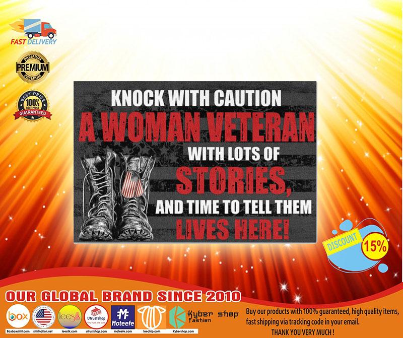 Veteran knock with caution a woman veteran doormat3