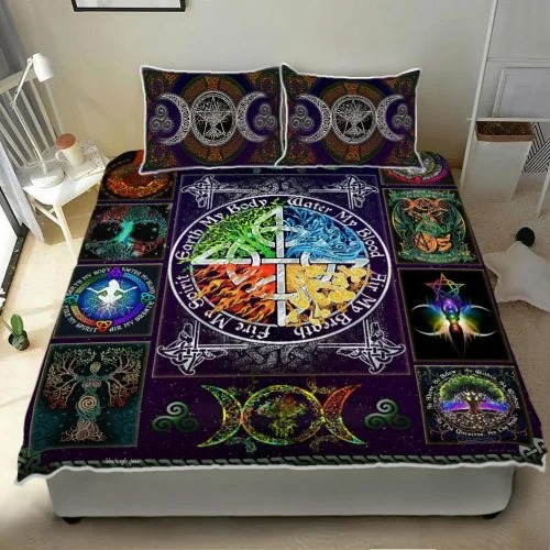 Wiccan witch pagan quilt bedding set3