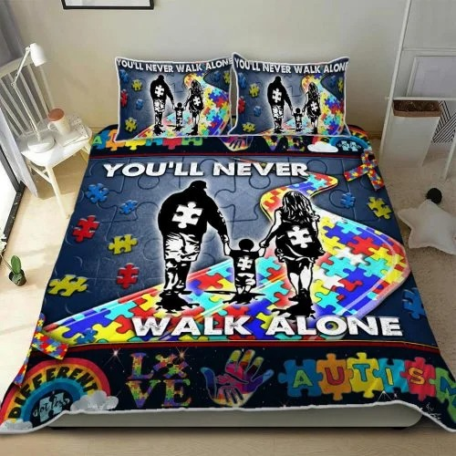Youll never walk alone autism quilt bedding set2
