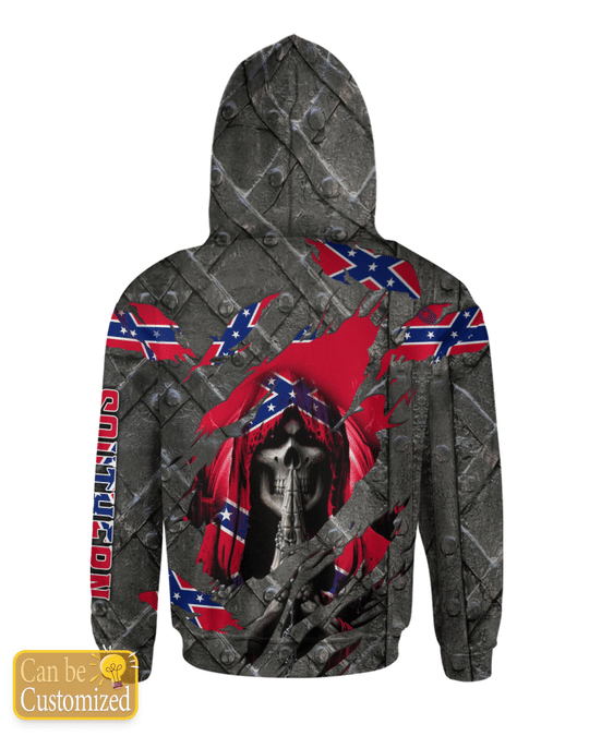 23 Skull southern confederate flag 3d over print hoodie 3 1