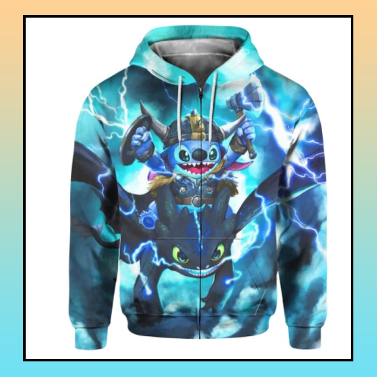 26 Stitch toothless viking all over print 3d Hoodie 3 1