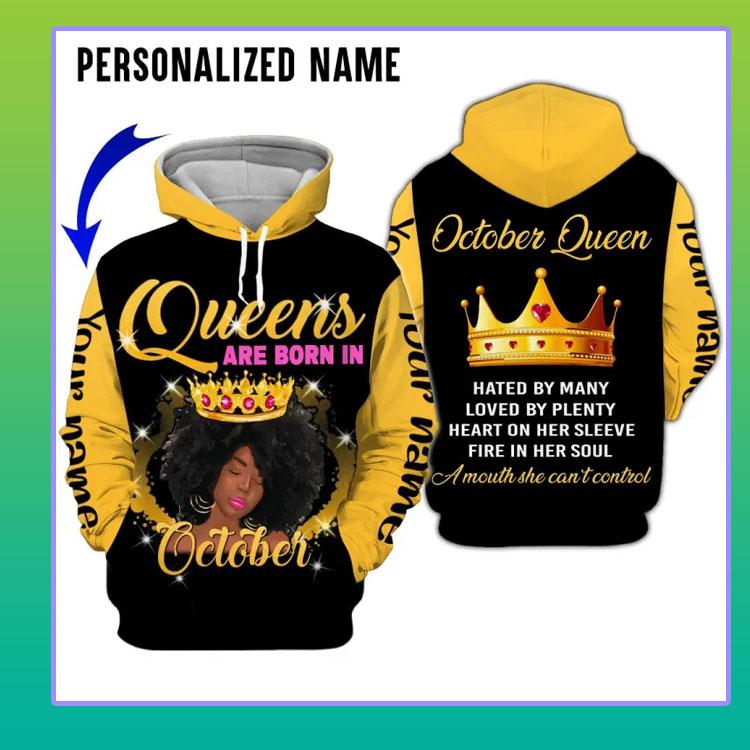 A queen was born in october custom name 3D hoodie4