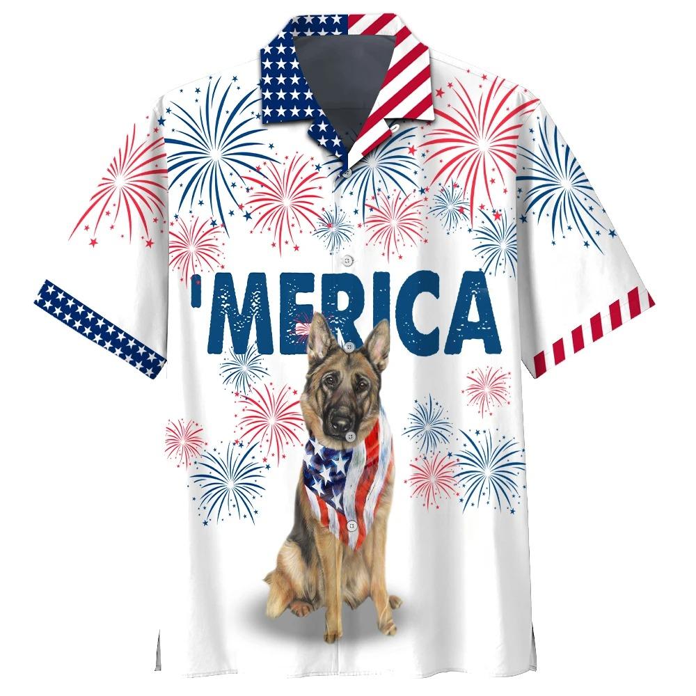 American Alsace Dog German Shepherd Hwaiian Shirt