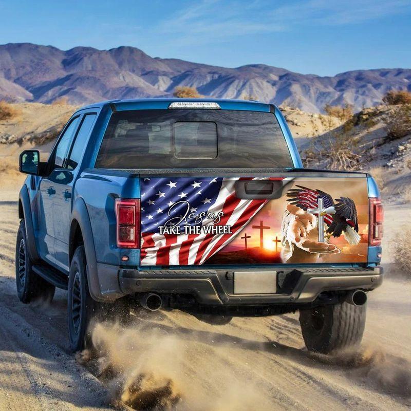 American Flag Jesus Take The Wheel Truck Tailgate Decal Sticker Wrap 1