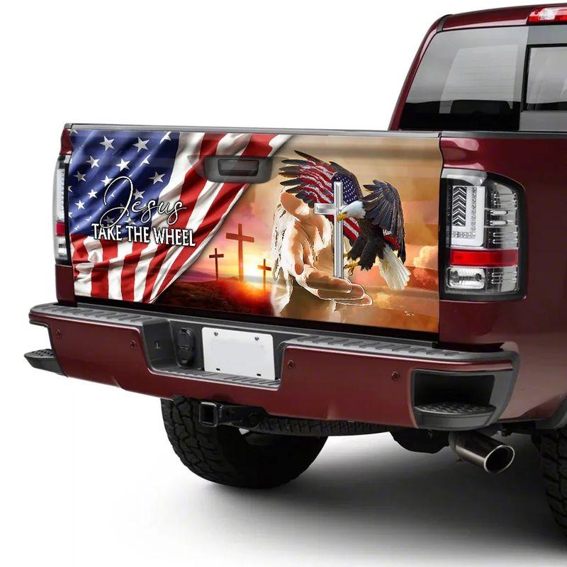 American Flag Jesus Take The Wheel Truck Tailgate Decal Sticker Wrap 2 1