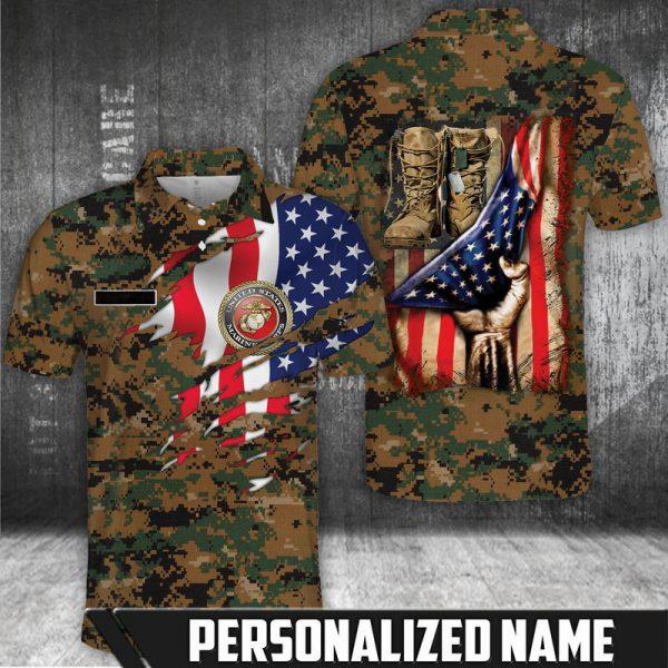 American flag Marine corps polo shirt