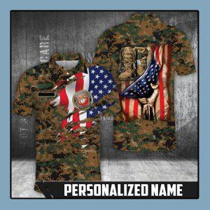 American flag Marine corps polo shirt1