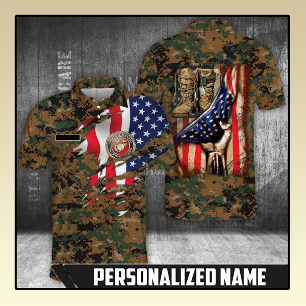 American flag Marine corps polo shirt2