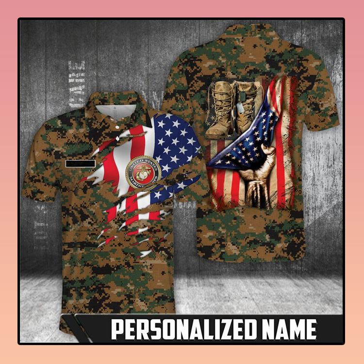 American flag Marine corps polo shirt3