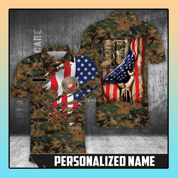 American flag Marine corps polo shirt4