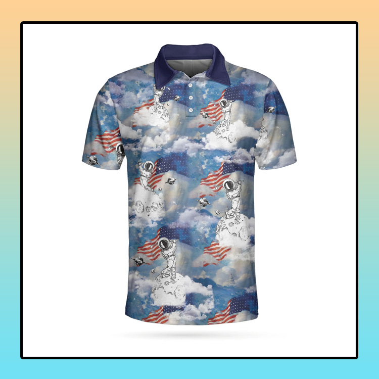 Astronaut Plays Golf In Space American Flag Polo Shirt