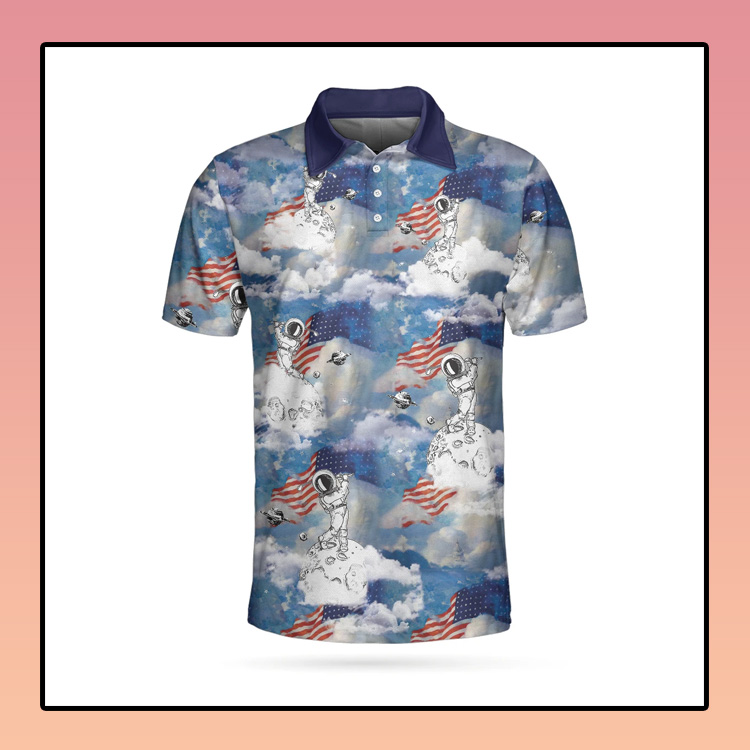 Astronaut Plays Golf In Space American Flag Polo Shirt1