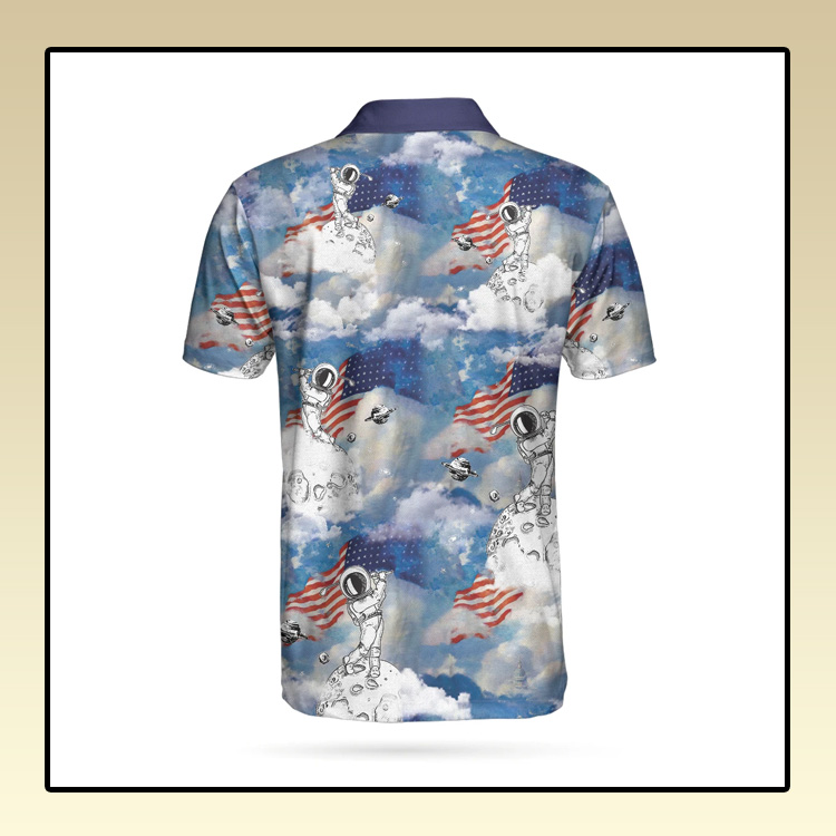 Astronaut Plays Golf In Space American Flag Polo Shirt2