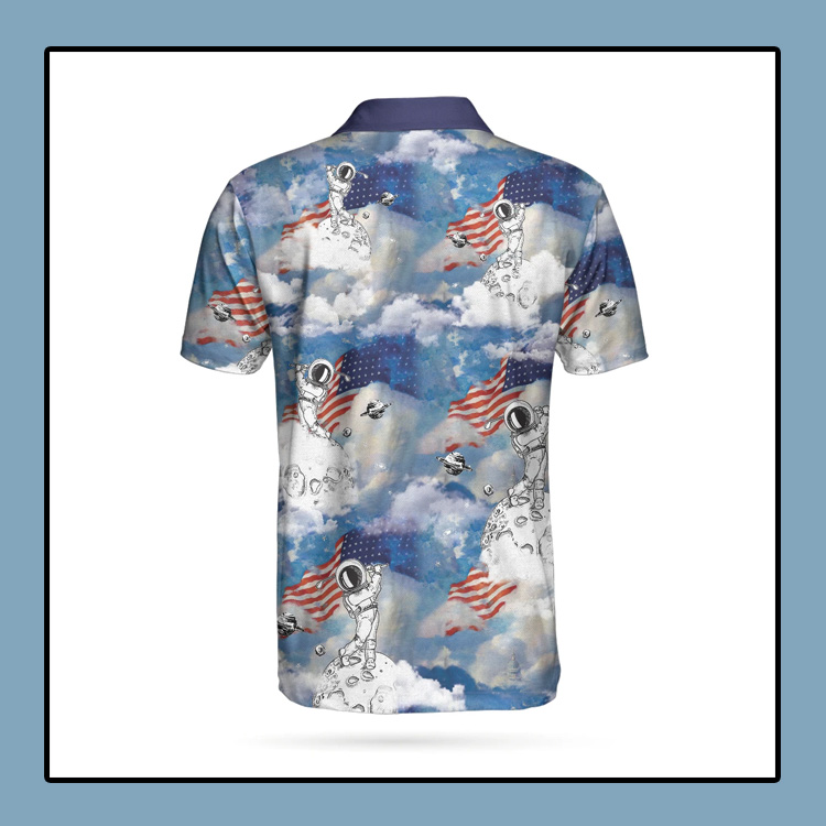 Astronaut Plays Golf In Space American Flag Polo Shirt3