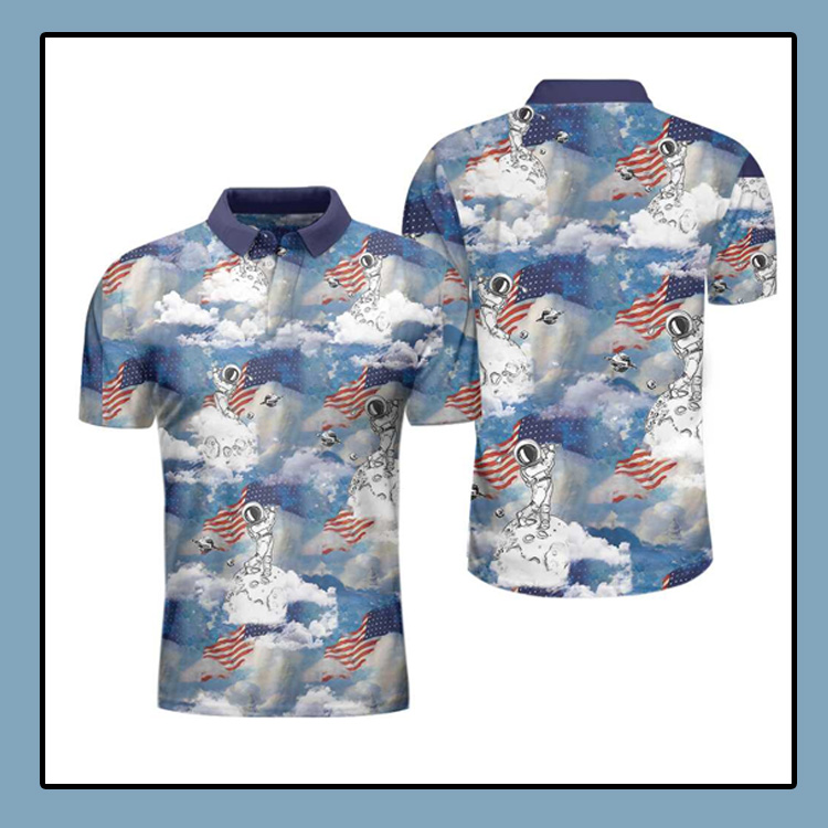 Astronaut Plays Golf In Space American Flag Polo Shirt4