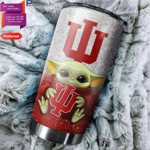 Baby Yoda Hug Indiana Hoosiers 20oz Tumbler