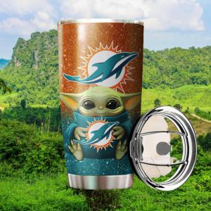 Baby Yoda Hug Miami Dolphins 20oz Tumbler4