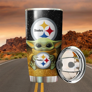 Baby Yoda Hug Pittsburgh Steelers 20oz Tumbler7