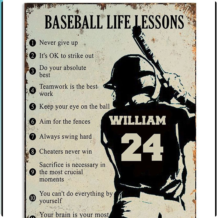 Baseball Life Lessons Custom Name And Number Poster 2