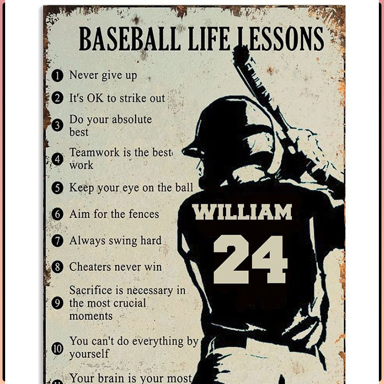 Baseball Life Lessons Custom Name And Number Poster 4