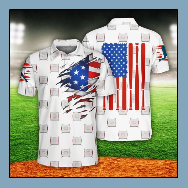 Baseball US Flag Polo Shirt1