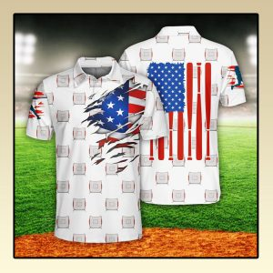 Baseball US Flag Polo Shirt2