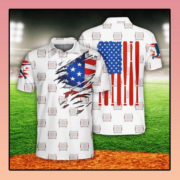 Baseball US Flag Polo Shirt3