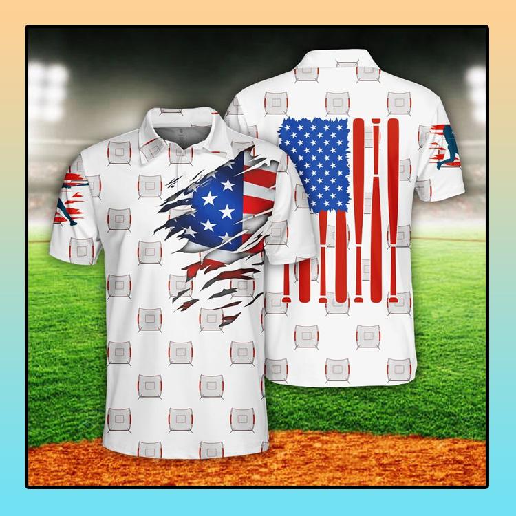 Baseball US Flag Polo Shirt4