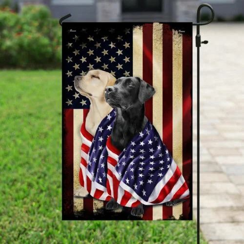 Black And Yellow Labrador Retriever American Flag