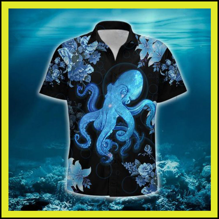 Blue octopus hawaiian shirt3