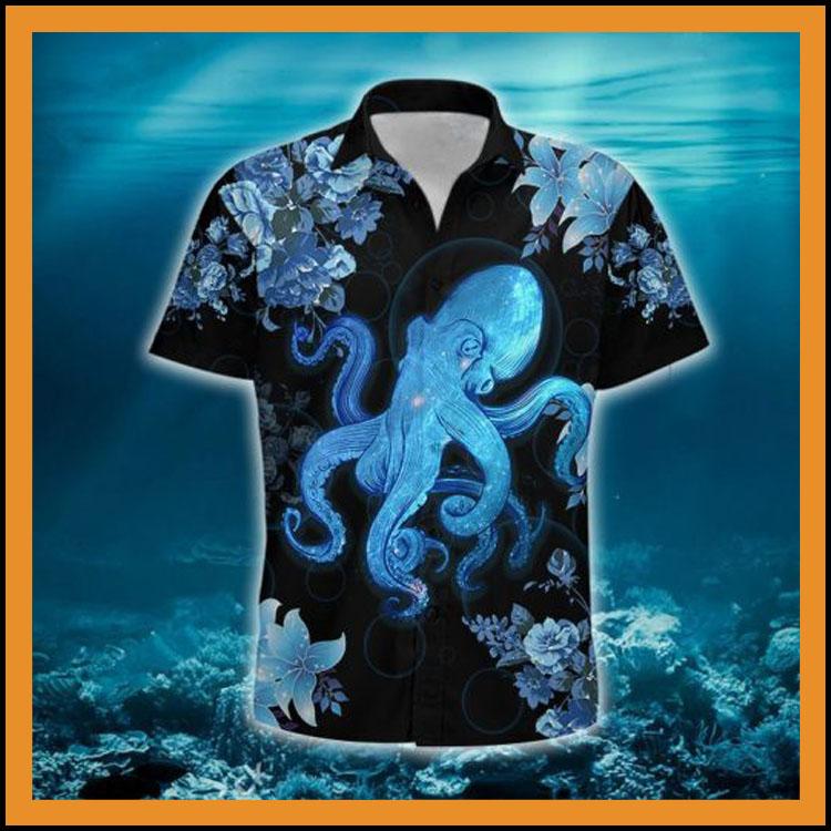Blue octopus hawaiian shirt4