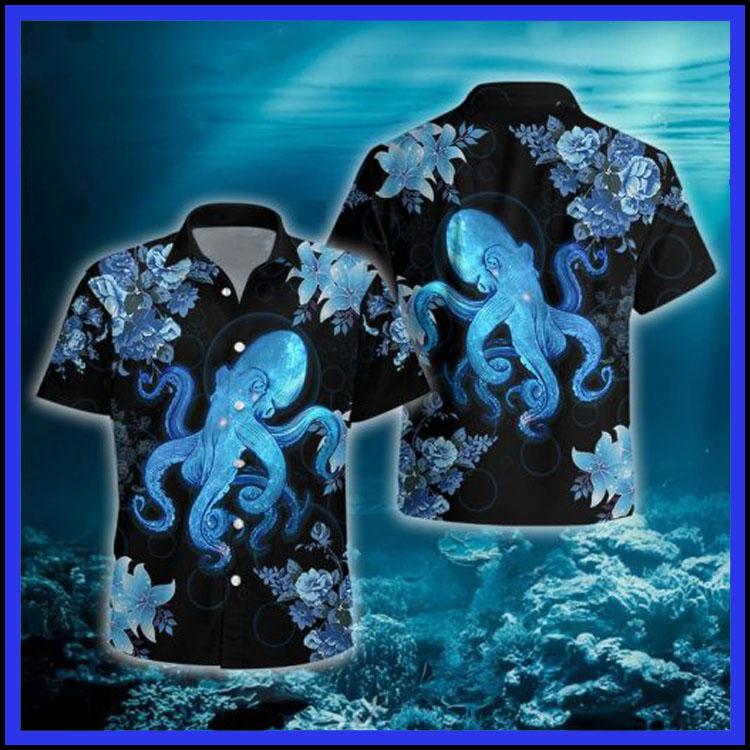 Blue octopus hawaiian shirt8