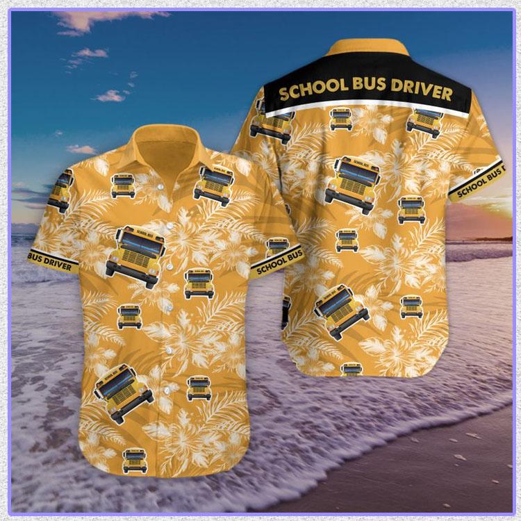 Bus school bus driver hawaiian shirt and short pants5