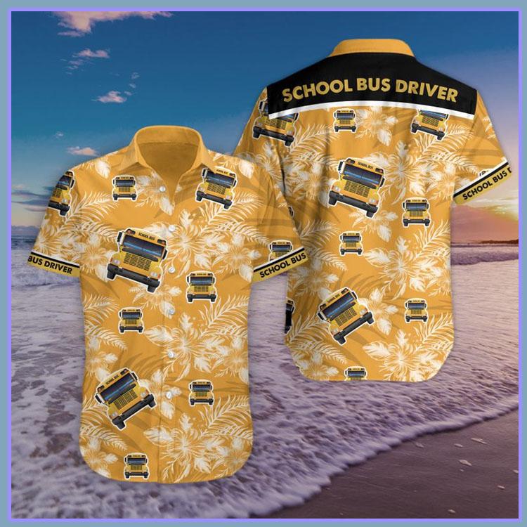 Bus school bus driver hawaiian shirt and short pants6