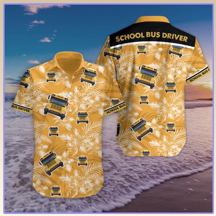 Bus school bus driver hawaiian shirt and short pants7