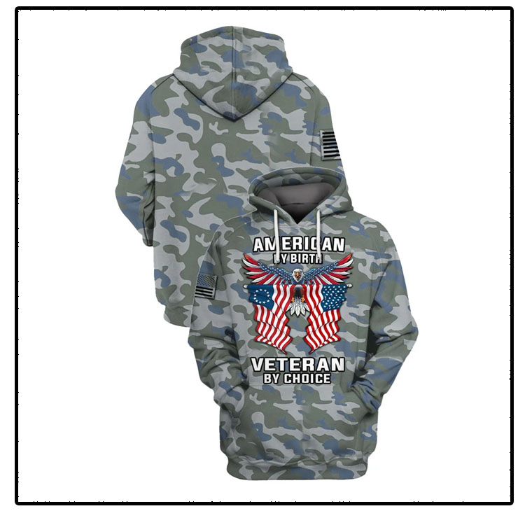 Camo Eagle American flag by birth veteran by choice 3D hoodie and shirt7