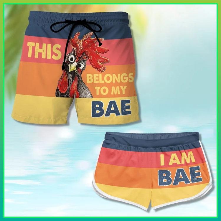 Chicken this belong to my bae Im bae couple shorts7