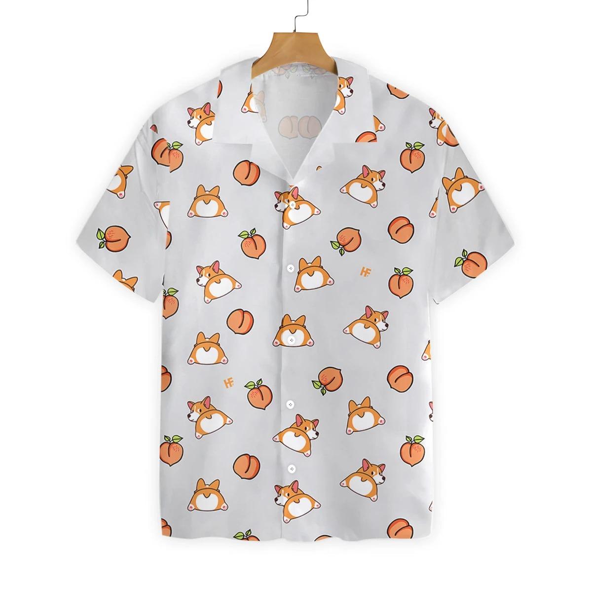 Corgi butt and peaches seamless hawaiian shirt