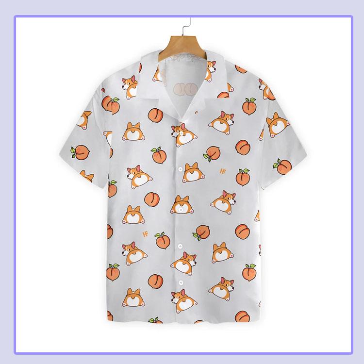 Corgi butt and peaches seamless hawaiian shirt4