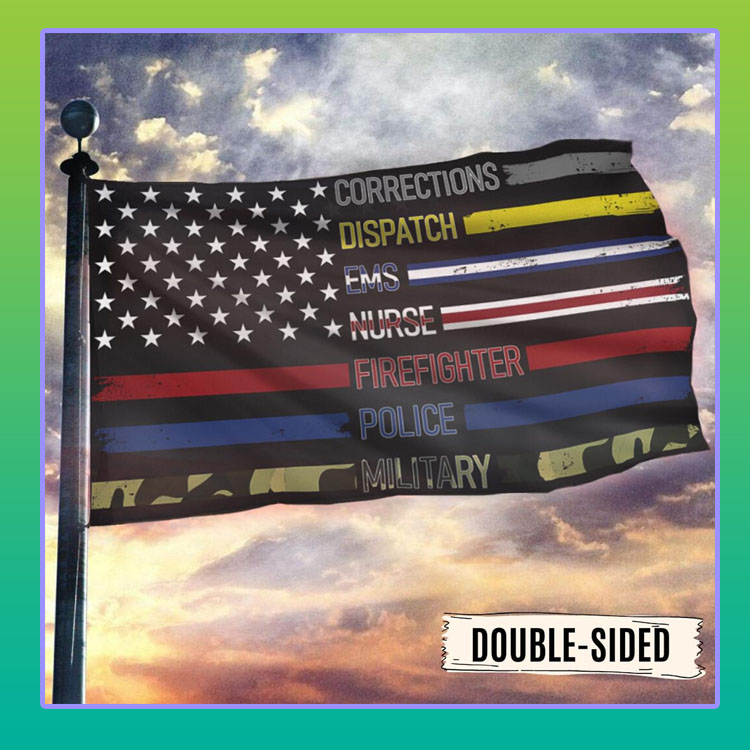 Corrections dispatch ems nurse firefighter police military American flag4