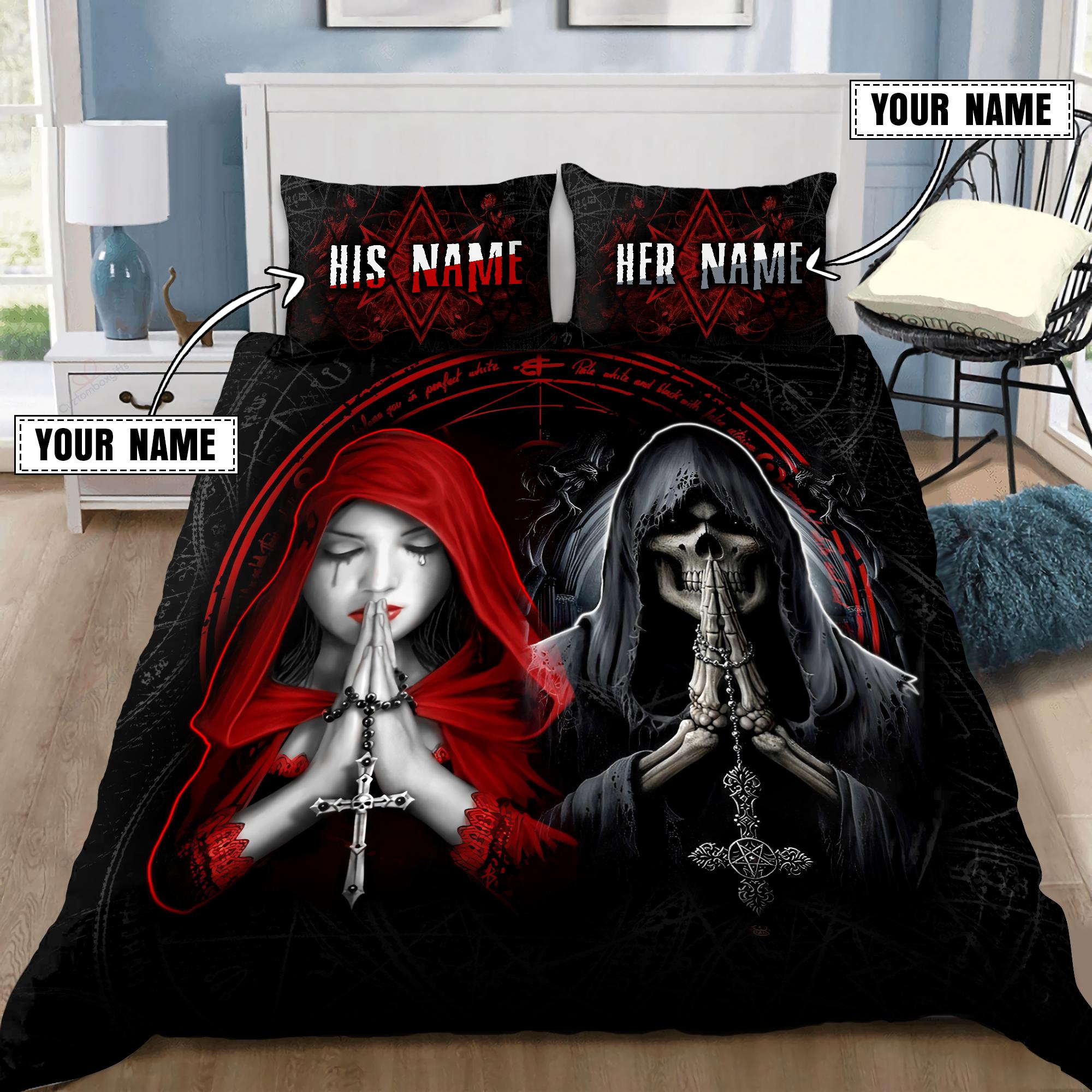 Couple Skull and girl custom name Bedding Set1